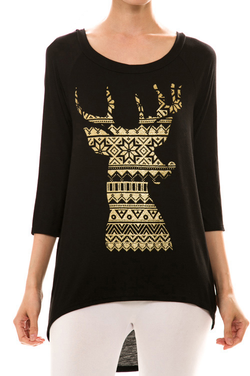 Fair Isle Reindeer Print Top - More Colors - Click Image to Close