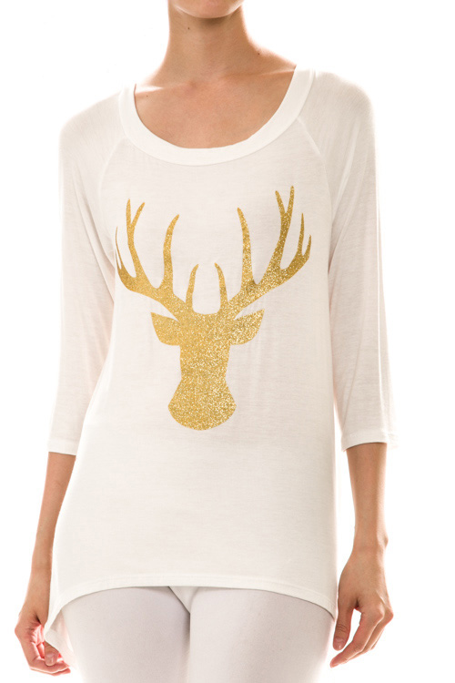 Prancer Reindeer Print High Low Top - More Colors