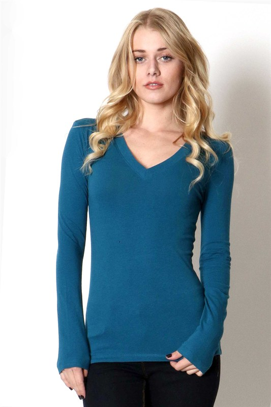 Long Sleeve V Neck T Shirt - More Colors