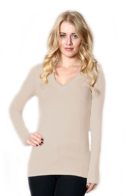 Long Sleeve V Neck T Shirt - More Colors - Click Image to Close