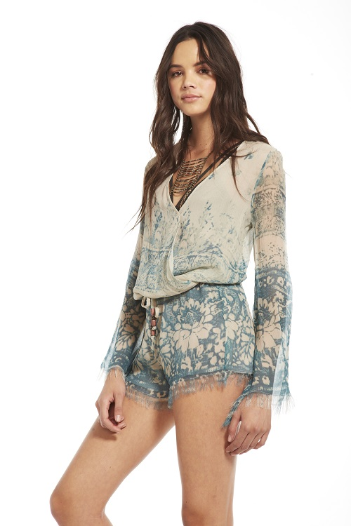 Silk Chiffon Bell Sleeve Romper - Tapestry - Click Image to Close