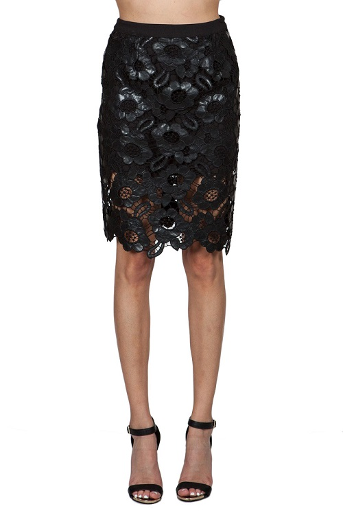 Laila Leather Lace Pencil Skirt