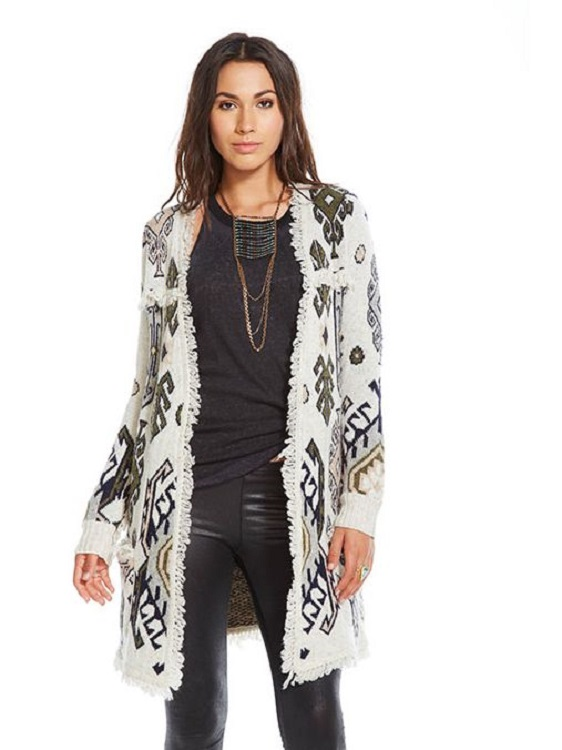 Tapestry Jacquard Fringe Open Long Cardigan