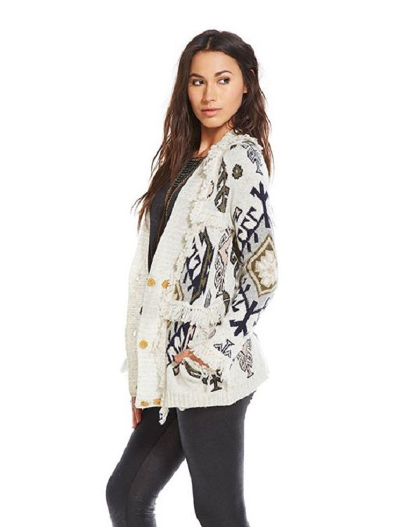 Tapestry Shawl Collar Fringe Cardigan