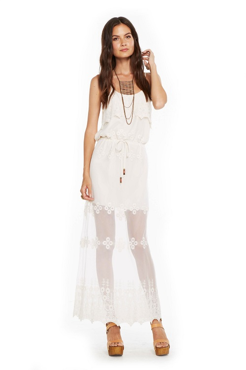 Vintage Lace Ruffle Front Boho Maxi Dress