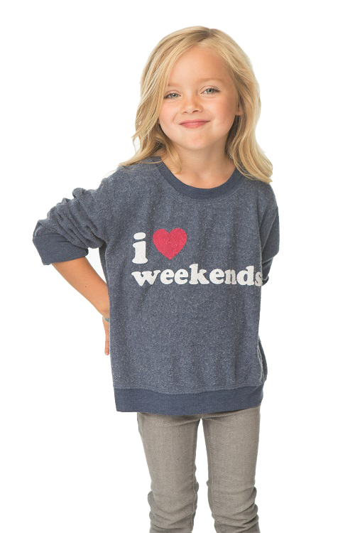 I Heart Weekends Kids Reverse Rayon Pullover