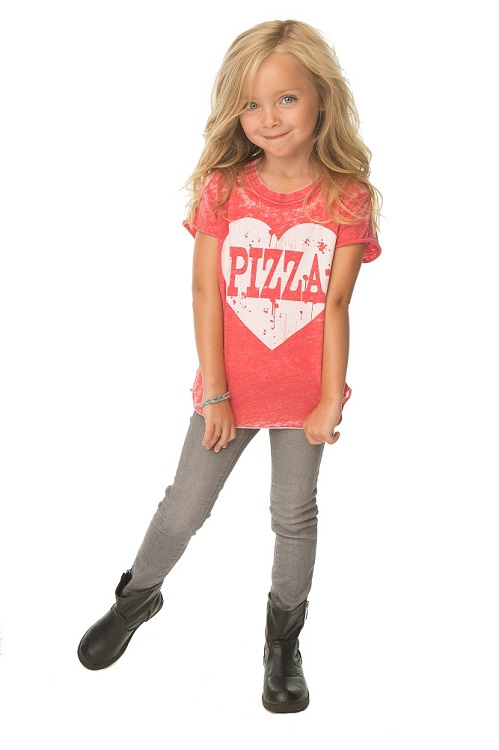 Pizza Heart Kids Distressed Shirttail Shirt