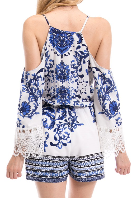 Willow Blue Floral Cold Shoulder Romper