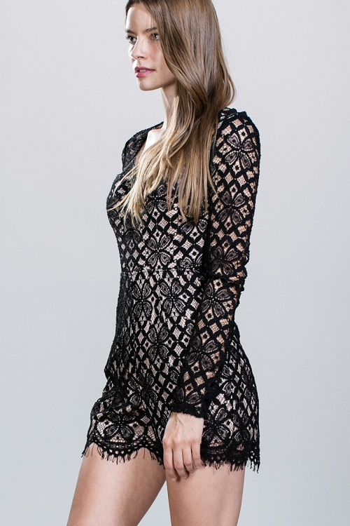 Ark & Co. London Long Sleeve Lace Romper
