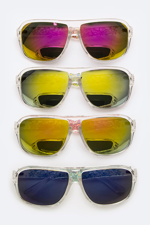 Clear Frame Color Tinted Iconic Sunglasses - More Colors