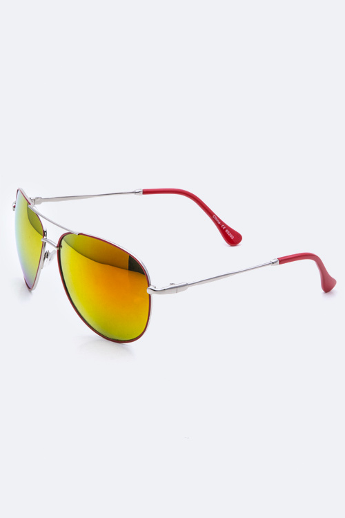 Mirror Tinted Aviator Sunglasses - More Colors