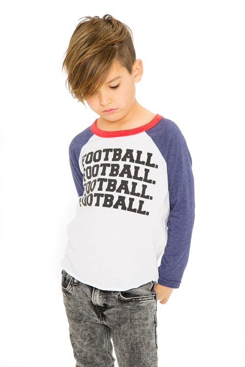Football Kids Long Sleeve Baseball Tee
