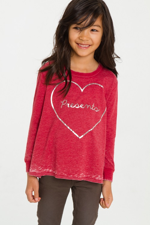 I Love Presents Girls Vintage Long Sleeve Shirt