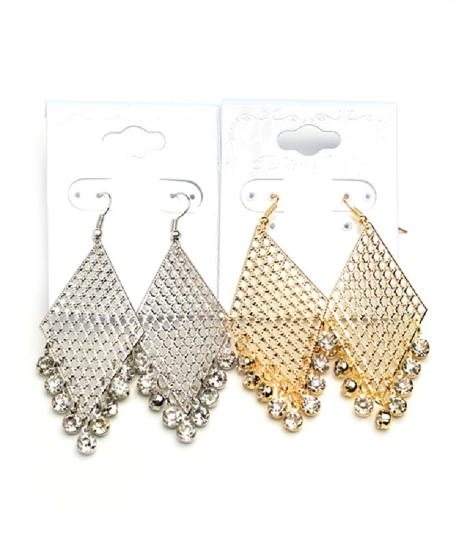 Lattice and Stone Drop Earrings - More Colors