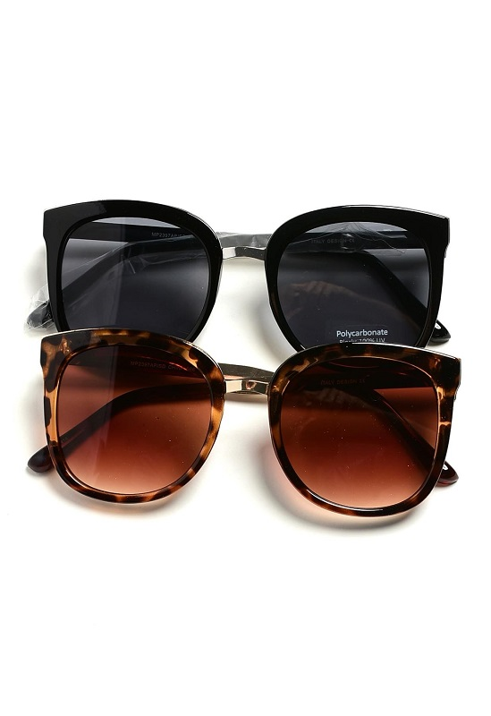 Oversized Flat Lens Cat Eye Sunglasses