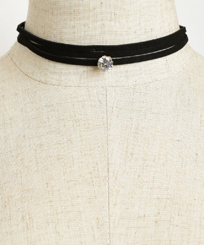 Solitaire Stone Choker Necklace and Earring Set - More Colors