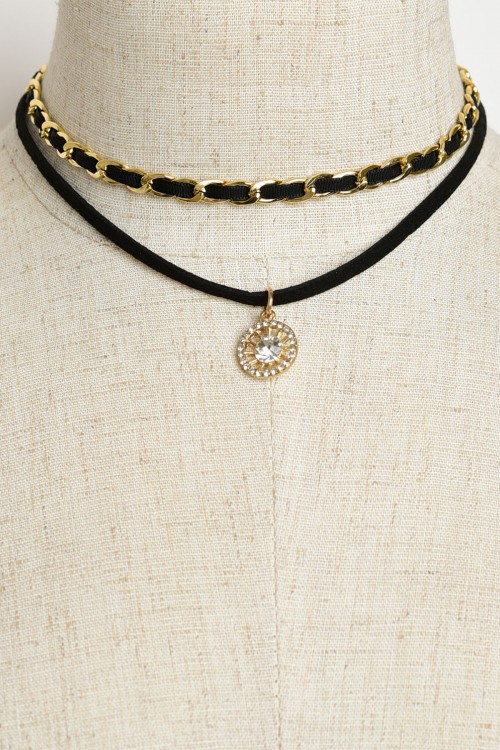 Sunburst Interlaced Layered Suede Choker - More Colors