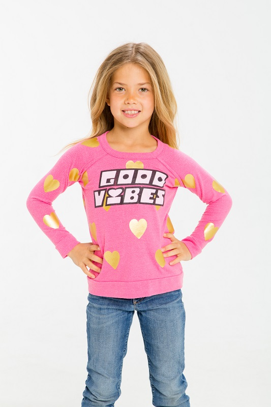 Good Vibes Kids Love Knit Raglan Pullover