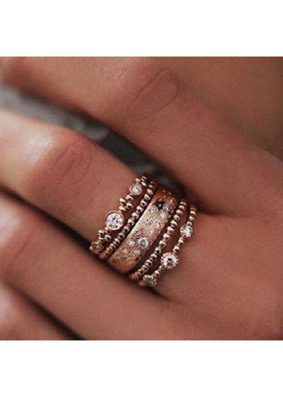 Boho Rose Gold Stackable 5 Piece Ring Set