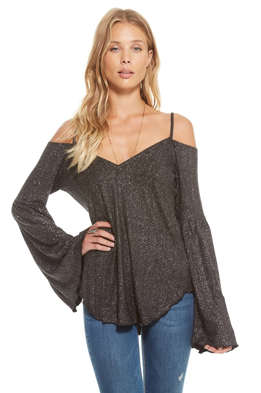 "Glitter Jersey Double ""V"" Flounce Sleeve Top - More Colors"