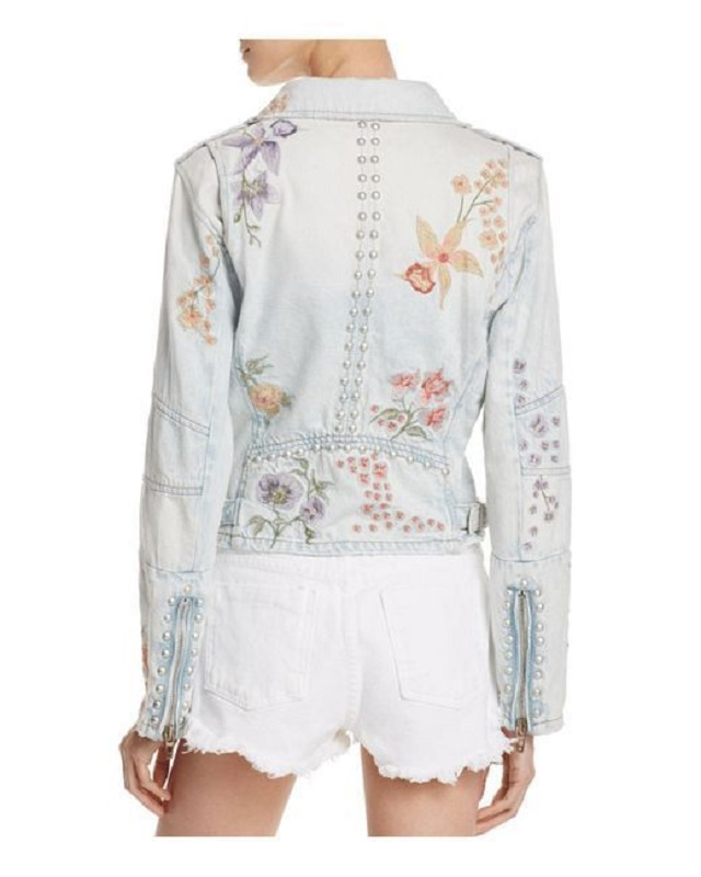 BLANKNYC Embroidered & Embellished Denim Moto Jacket - Click Image to Close
