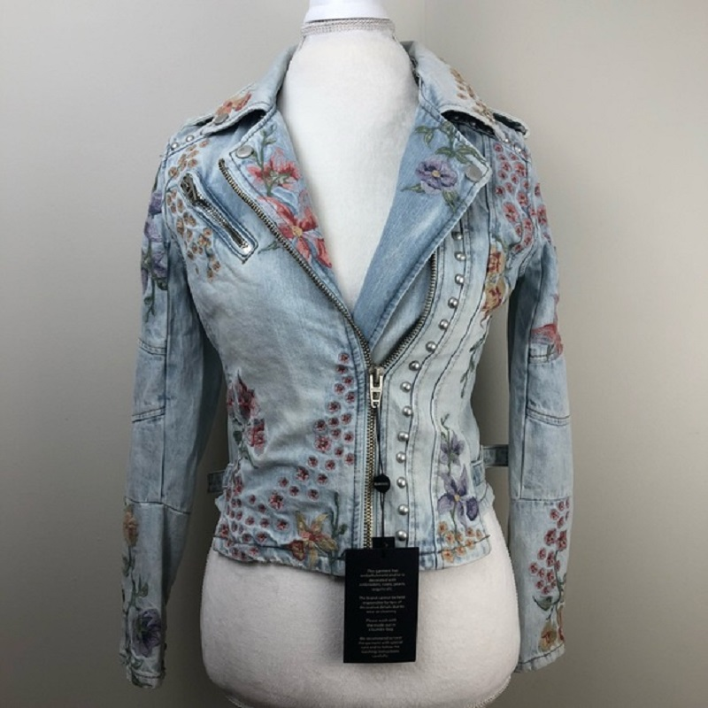 BLANKNYC Embroidered & Embellished Denim Moto Jacket