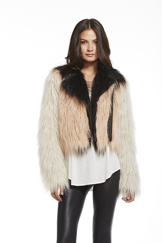 Color Blocked Faux Fur Moto