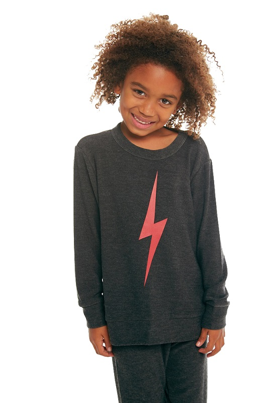 Red Bolt Kids Cozy Knit Crew Neck Pullover Sweatshirt