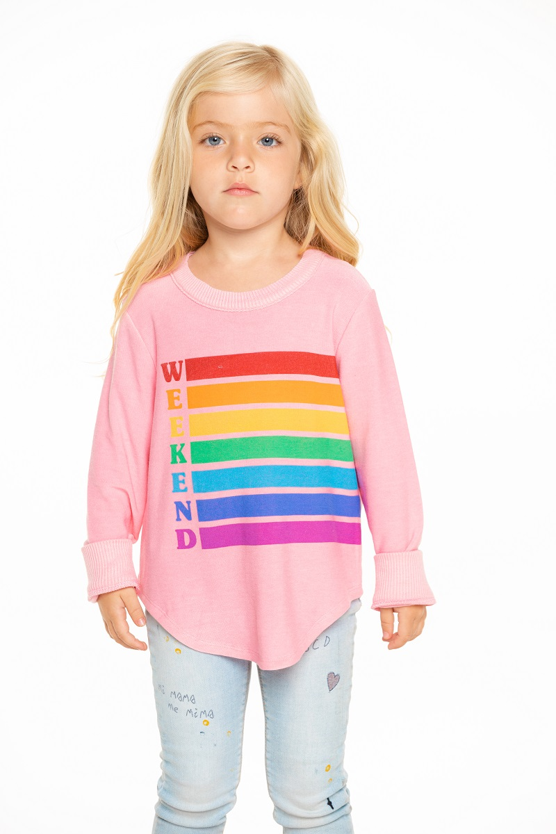 Weekend Rainbow Girls Cozy Knit Hi-Lo Shirttail Pullover