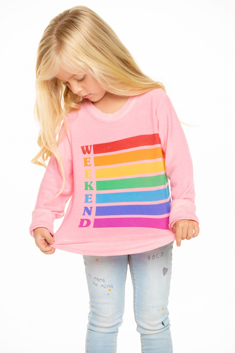 Weekend Rainbow Girls Cozy Knit Hi-Lo Shirttail Pullover - Click Image to Close