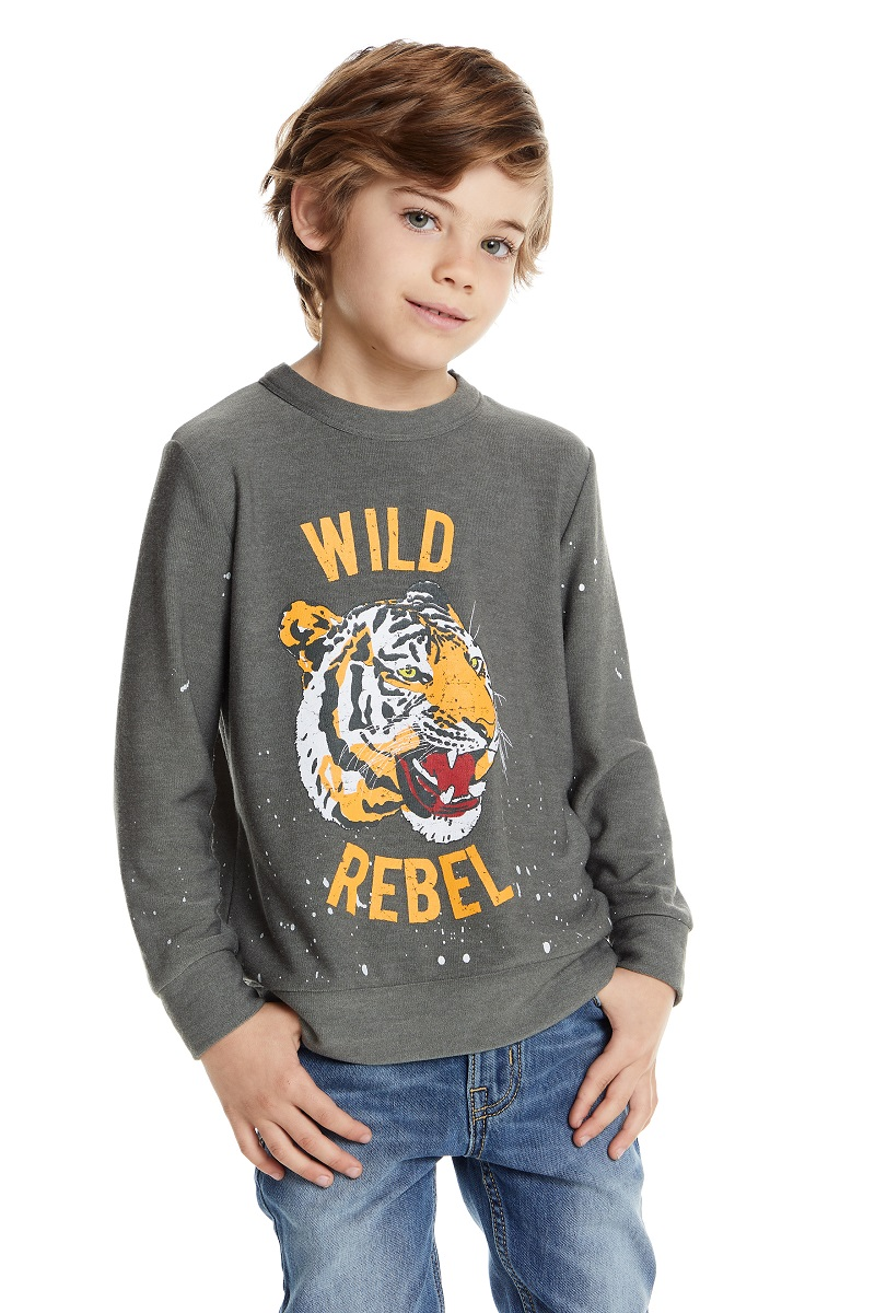 Wild Rebel Tiger Kids Cozy Knit Pullover Sweatshirt